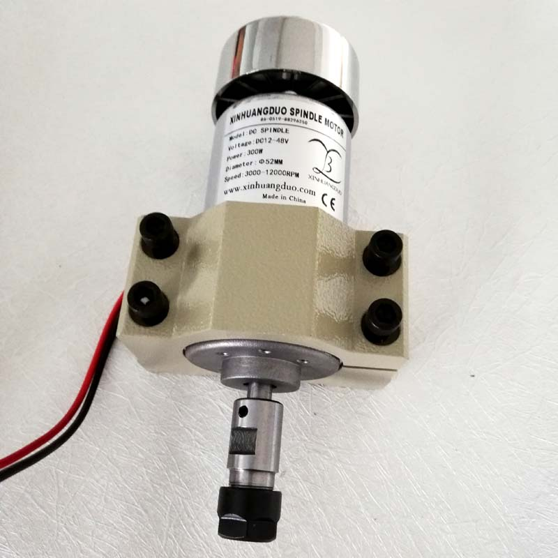 300W Air Cooled  DC Spindle Motor 0.3KW 12-48V DC ER11-3.175 ER16 collect + 52mm clamp Mount bracket fixture for PCB CNC Machine300W Air Cooled  DC Spindle Motor 0.3KW 12-48V DC ER11-3.175 ER16 collect + 52mm clamp Mount bracket fixture for PCB CNC Machine