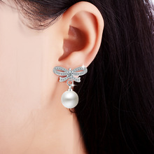 Valentine Lover Gift Classical Water Drop Wedding Earrings Romantic Engagement Simulated Pearl 925 Sterling Silver Jewelry