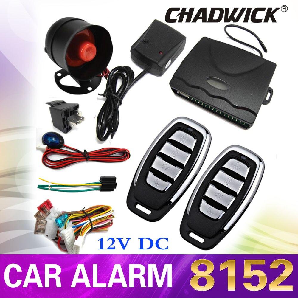 Système d'alarme de voiture automatique à sens unique Kit de sécurité de verrouillage Central de porte capteur de sirène à télécommande pour voiture 12 V universel 8152 CHADWICK