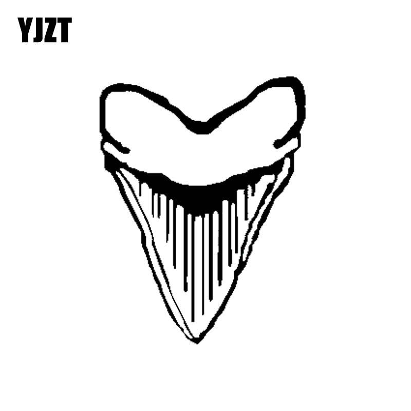 YJZT 10,1 см * 13 см персональный MEGALODON зуб акулы винил Высокое качество наклейки для автомобиля Черный Серебристый C11-0325