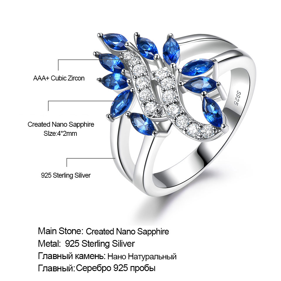 Image 5 - UMCHO Genuine 925 Sterling Silver Ring Gemstone Blue Sapphire Rings for Women Cocktail Flowers Trendy Romantic Gift Fine JewelryRings   -