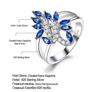 Image 5 - UMCHO hakiki 925 ayar gümüş yüzük taş mavi safir yüzük kadınlar için kokteyl çiçekler Trendy romantik hediye güzel takı