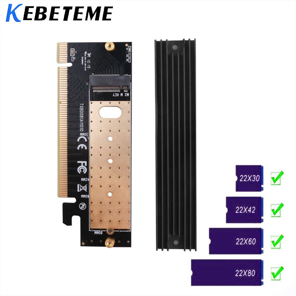 Kebidu M.2 NVMe SSD NGFF TO PCIE 3.0 X16 X4 Adapter M Key Interface Expansion Card Full Speed Support 2230 to 2280 SSD