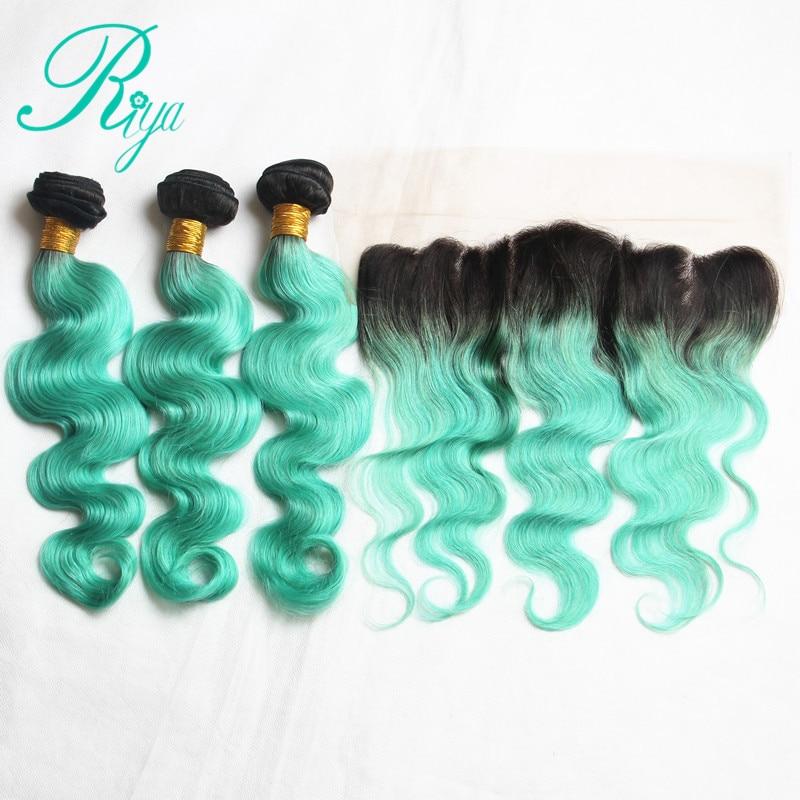 Riya Hair Brazilian Body Wave Hair 1B Light Green Color3 4 Hair Extension With 13 4
