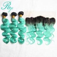 Riya Hair Brazilian Body Wave Hair 1B/Light Green Color3/4 Hair Extension With 13* 4 Lace Frontal Human Hair Bundles