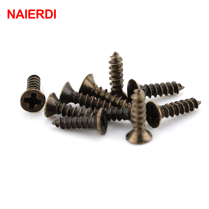 500PCS NAIERDI Screws M2*6mm 8mm 10mm Bronze Flat Round Head Self-Tapping Screw For Antique Hinges Decoration Wood Hardware Tool