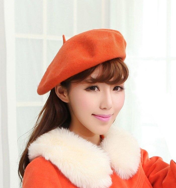 Women Winter Vintage Beret hats Wool Caps Solid Beanies Hat Knit Cap Female Bonnet touca Beret Hat for Women SY003 stylish bowknot wool beret