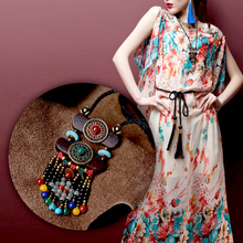 2016 fashion boho jewelry  turquoise natural stone and agate coco nut slice pendants bohemian long chain maxi necklace for women