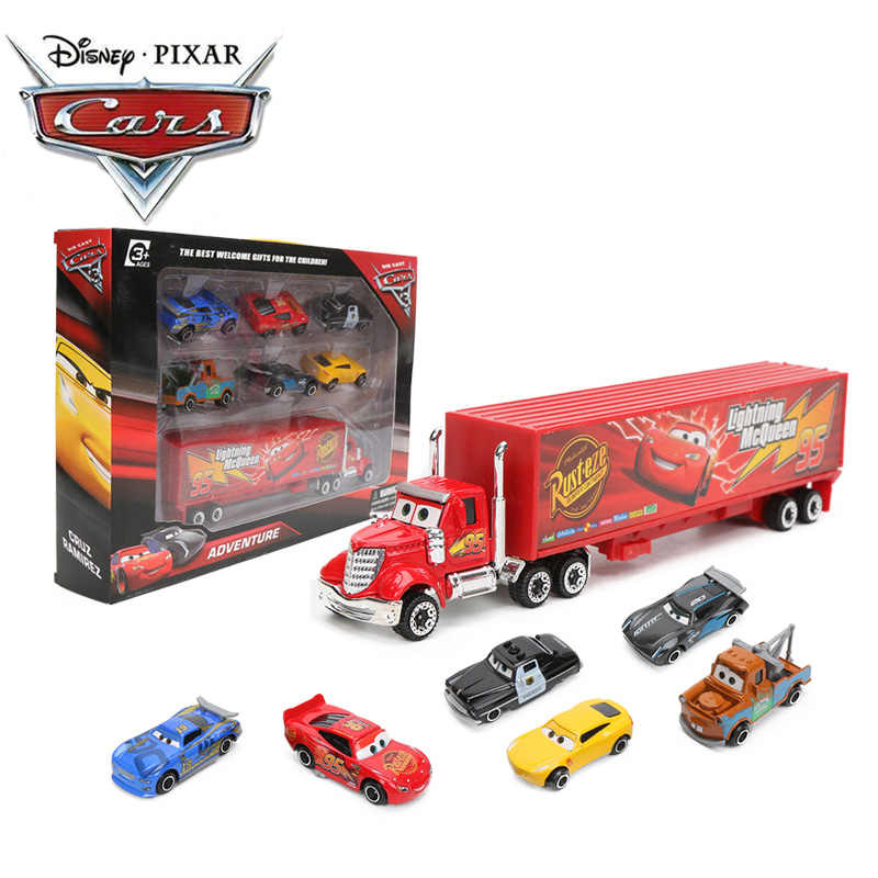 7pcs/set Disney Pixar Cars 3 Toys Lightning McQueen Jackson Storm Mater Mack Uncle Truck 1:55 Diecast Metal Car Model Boys Gifts