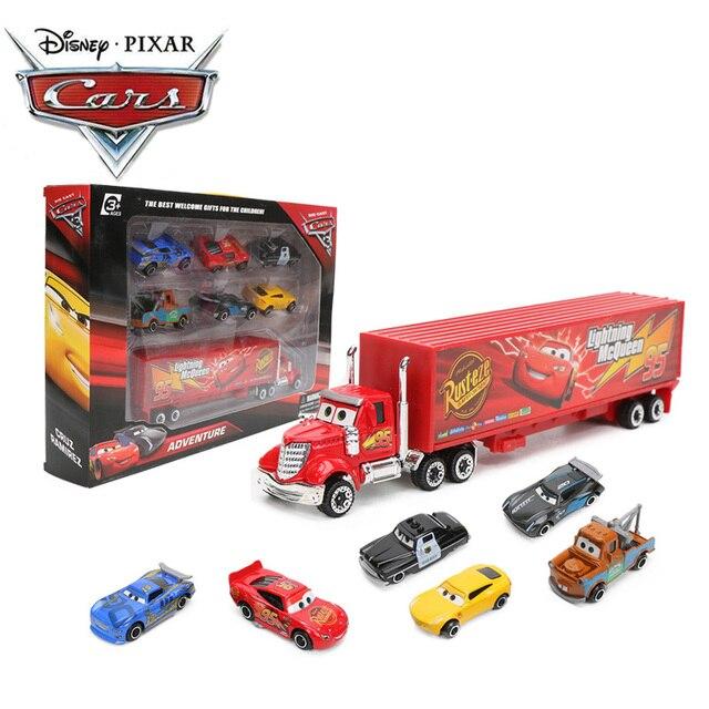 7pcs/El Set Disney Pixar Juguetes de Cars 3 Rayo McQueen Jackson Storm Mater Mack tío Camión 1:55 Fundición a presión Metal Modelo de Coche Regalos para Chicos