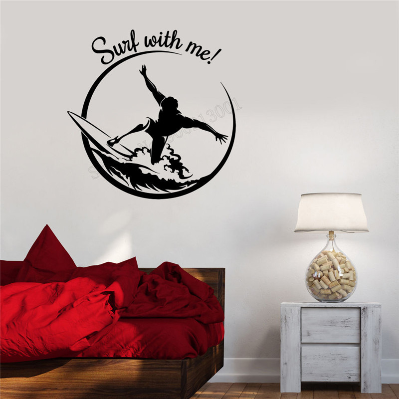 Wall Decoration Vinyl Art Removeable Poster Surf Surfing Quote Extreme Sticker Sports Teen Decal Modern Ornament LY327 in Wall Stickers from Home Garden