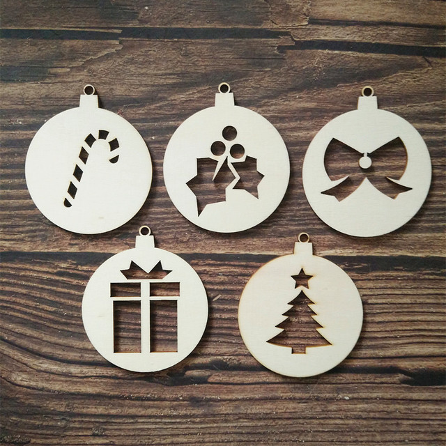 10pcs laser cut wooden christmas baubles shape gift tags diy craft christmas tree decoration embellishment wood