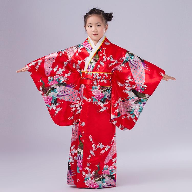 New Child Novelty Cosplay Floaral Dress Japanese Baby Girl Kimono Dress Children Vintage Yukata Kid Girl Dance Costumes