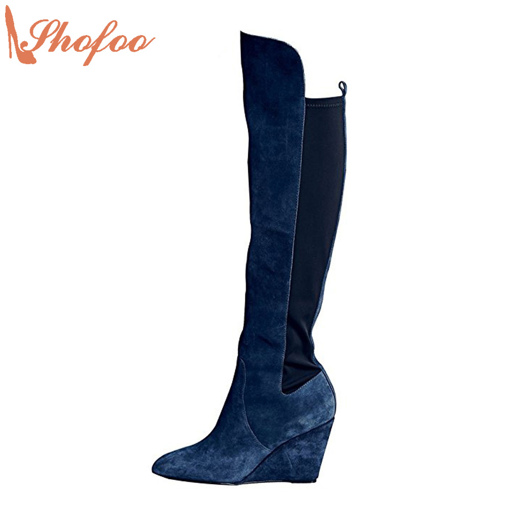 Shofoo Women navy blue  pointed Toe Knee High Winter Boots Shoes  Woman Dress Party Casual Wedges Heels Mujer ,size 4-16  shofoo newest women shoes med heels pointed toe pumps for woman dress