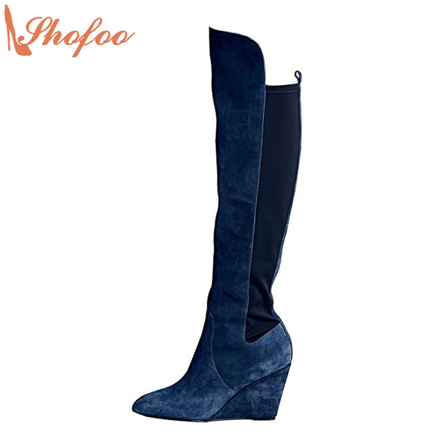 e1430326e97 Shofoo Women navy blue pointed Toe Knee High Winter Boots Shoes Woman Dress  Party Casual Wedges Heels Mujer