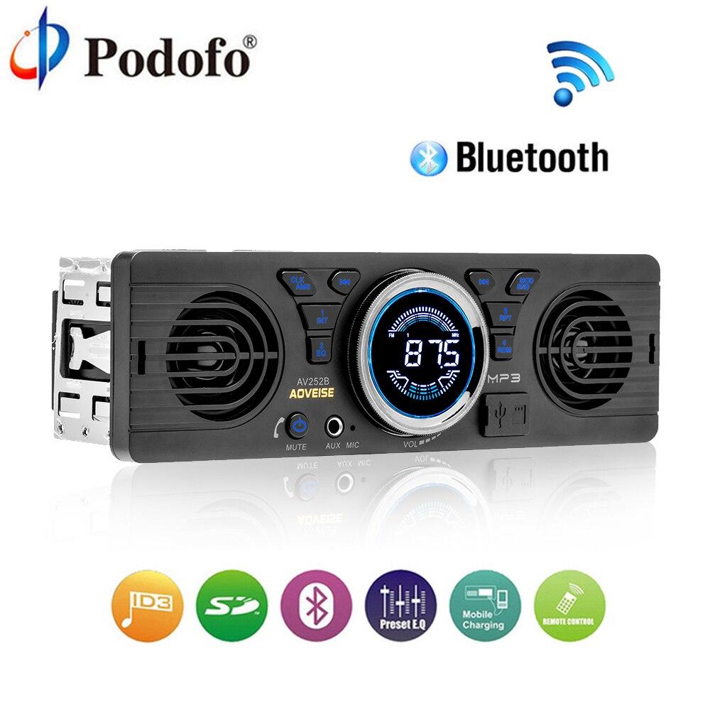 все цены на Podofo Bluetooth Car Radio Stereo FM MP3 Audio Player 5V Charger USB SD AUX Auto Electronics Subwoofer In-Dash 1 DIN Autoradio