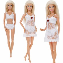 Free Shipping White Sexy Pajamas Lingerie Lace Costumes + Bra + Underwear Clothes For Barbie Doll Clothes Accessories Girl Toy