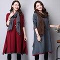 Vestido de inverno Plus Size Mulheres Roupas de Cor Sólida de Manga Comprida uma Linha de Vestido Do Vintage O Pescoço de Algodão de Linho Vestido Étnico Vestidos