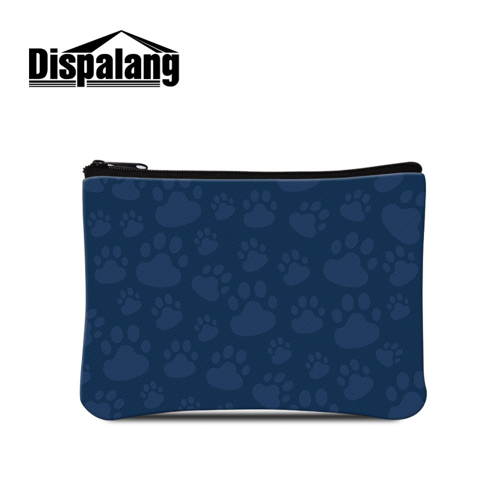 Dispalang Cat Paw Print Small Change Bag Women Key Card Cell Phone Storage Kids Coin Purse Wallet Clutch Zipper Bag