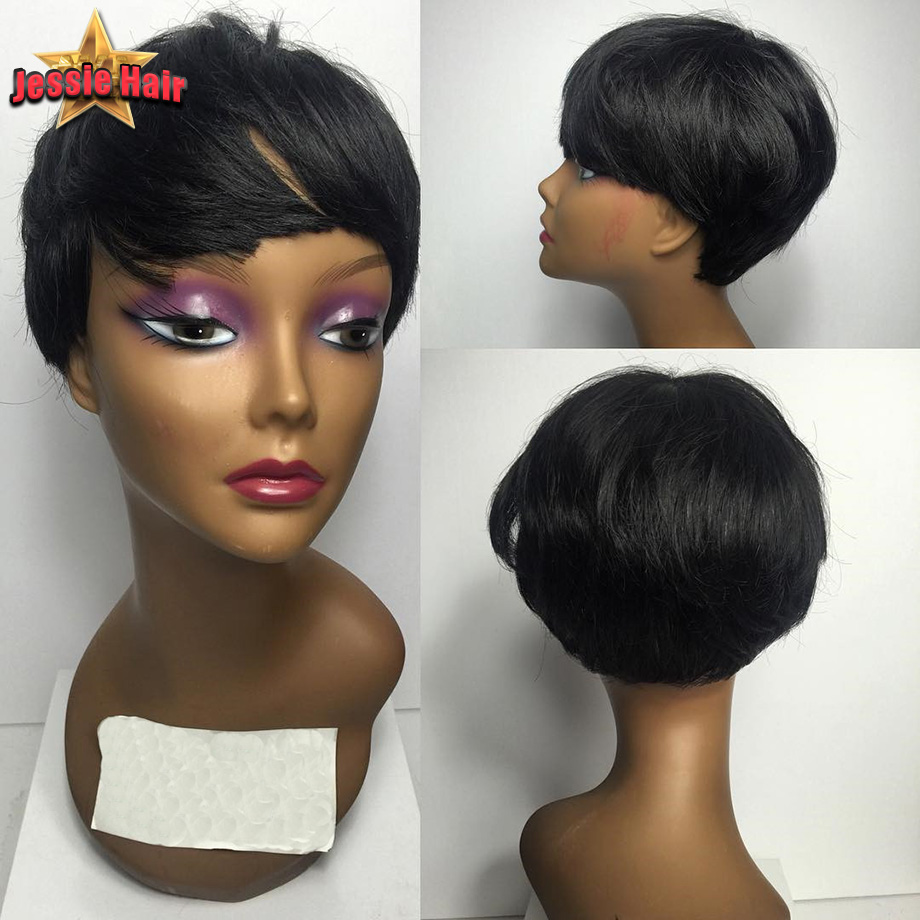 Short Cut Human Hair Wigs For Black Women Lace Front Wig Short Human Hair Bob Wig Glueless Full Lace Human Hair Wigs With Bangs