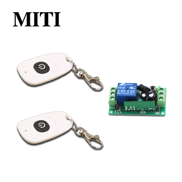 New Product RF Wireless Remote Control Switch System DC9V 12V 24V 1CH 2pcs White Transmitter &1pcs Receivers for Smart Home