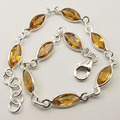 Solid Silver YELLOW CITRINE 9 Gem LATEST STYLE Bracelet 20.1 CM BIJOUX