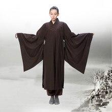 Медитация дзен восточный стиль буддийские льняной халатБуддийская одежда кастюмы древние женские даосизм ряса китайский халатплащ китай костюм для кунг фу медитация одежда монах китайская традиционная кимоно платье