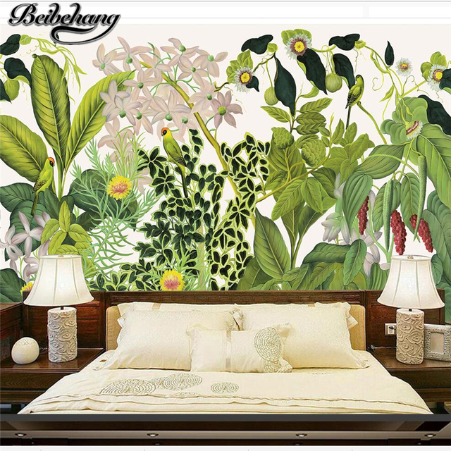beibehang personnalis papier peint 3d fresque europ enne style r tro vieux main for t tropicale. Black Bedroom Furniture Sets. Home Design Ideas