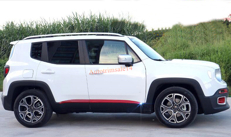 Red Chrome Car Side Door Body Moulding Covers Trim Decoration for Jeep Renegade 2015 2016 abs exterior decoration car body door side molding trim styling for jeep renegade 2015 up