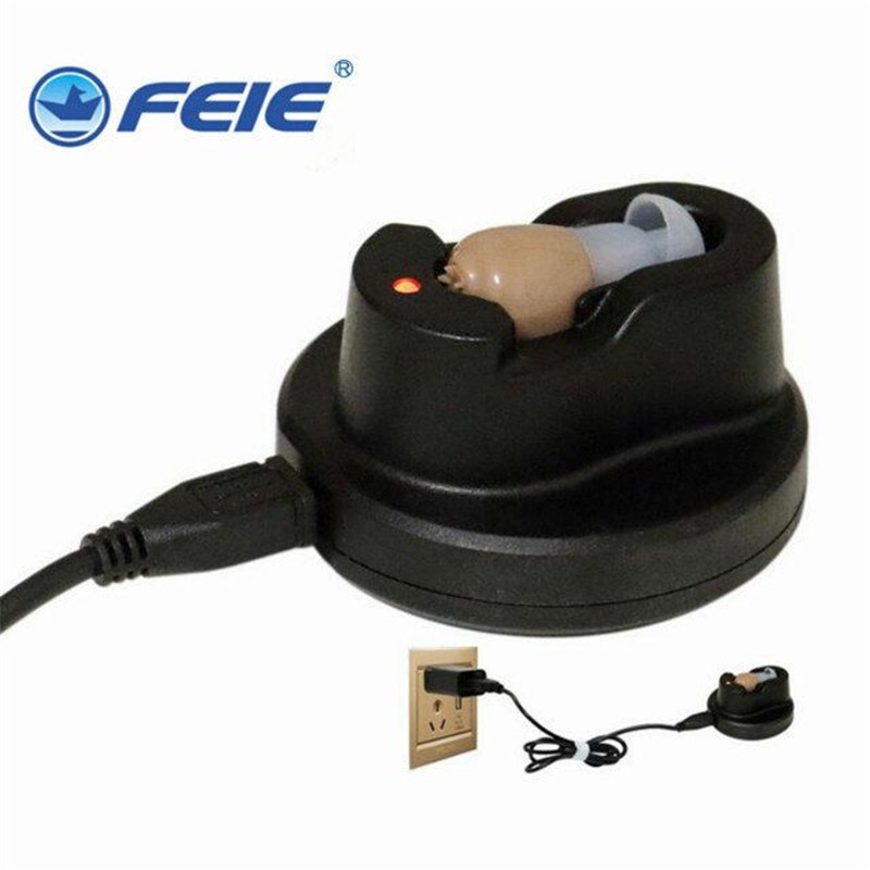 2018 Factory direct sale oem in ear USB Hearing Aid Rechargeable with Charger mini personal sound amplifier S-102 free shipping feie rechargeable hearing aid earphones s 101 bluetooth style behind ear sound amplifier usb charger free shipping