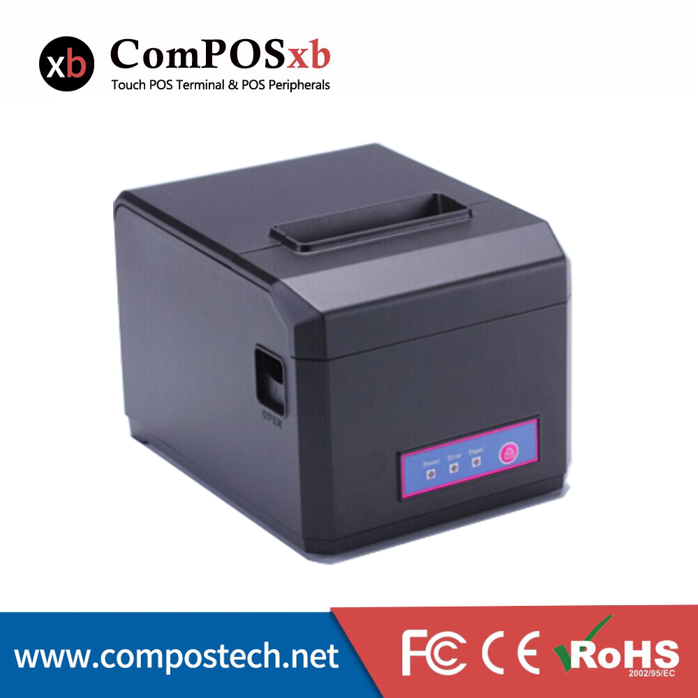Auto Cutter 80mm Thermal Receipt Printer USB / Ethernet Interface POS 300 mm s print speed black 80mm pos thermal receipt printer auto cutter cut windows2000 xp vista 8 10 linux usb ethernet