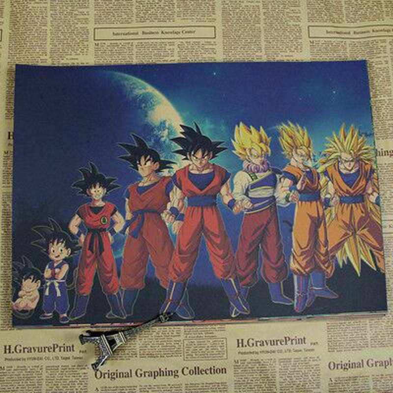 vintage Movie Poster Retro poster dragon ball anime poster wall art Living Room Kraft Paper Wall Stickers posters and prints