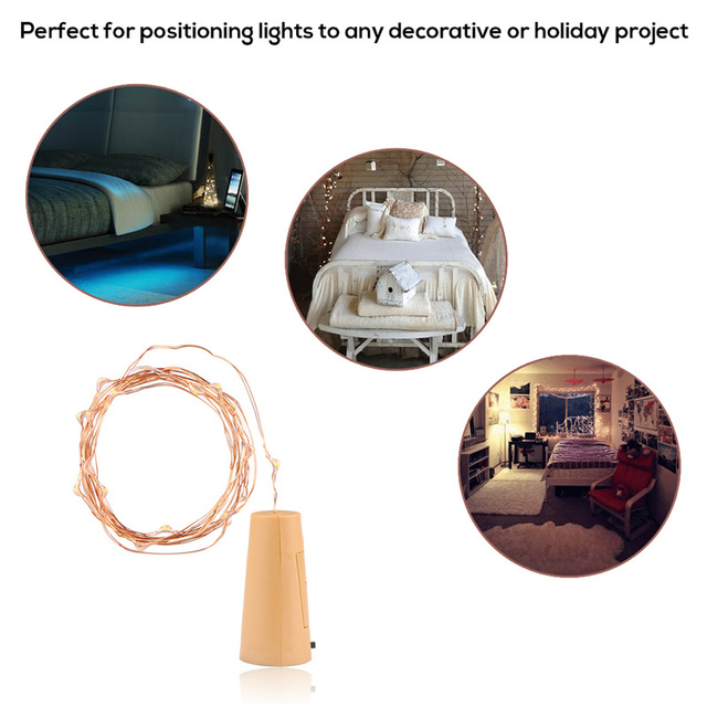 LED Copper Wire String Light with Bottle Stopper