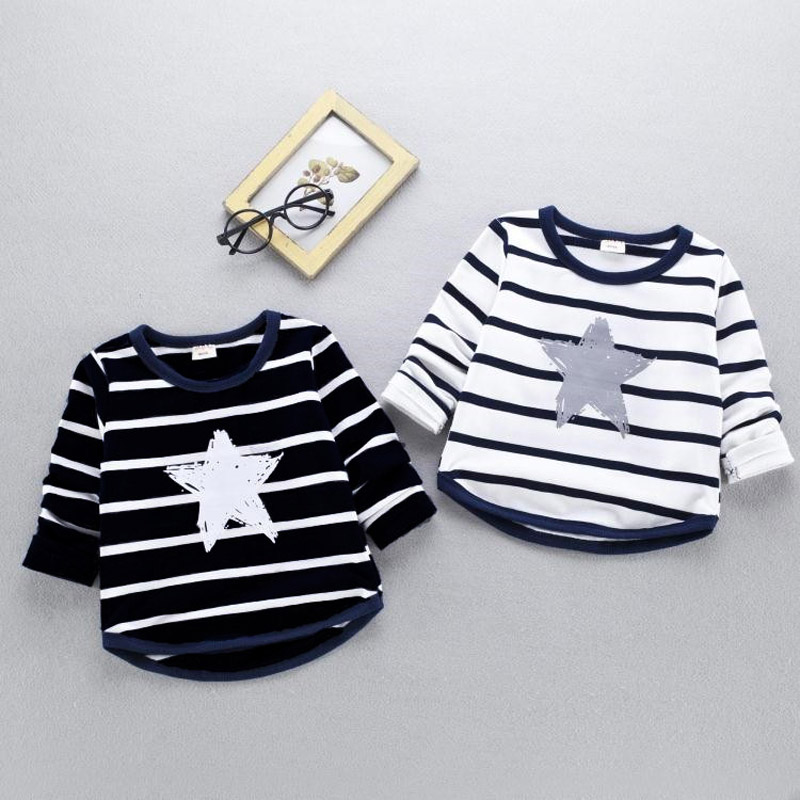 Spring Autumn New Children Striped Sweatshirt Fashion Casual Boys Girls Star Printed Long-sleeved Pullovers Hoodies