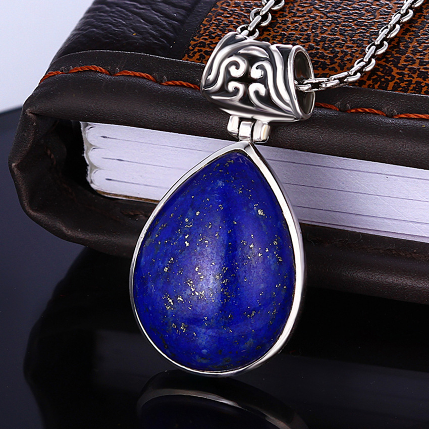 Retro Royal Lapis Gemstone 100% 925 Sterling Silver Natural Afghan Lapis Pendant Necklace Female Fine Jewelry 925 sterling silver jewelry necklace pendant retro evil vajra pestle jiangmo avoid evil spirits musical instruments