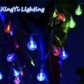 Chegada nova 1x3 m 20 Bolas De Cristal LEVOU Pingente Luz Da Corda À Prova D' Água Decoração Do Casamento Do Natal Luminar Tira Brilho