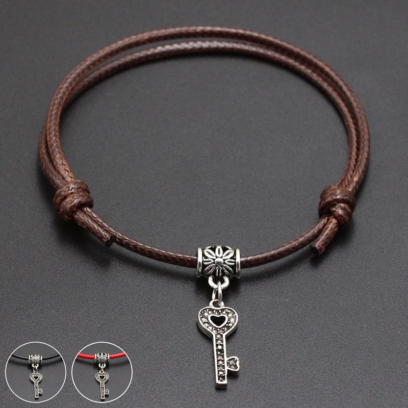 2020 New Heart Key Pendant Red Thread String Bracelet Lucky Black Coffee Handmade Rope Bracelet for Women Men Jewelry