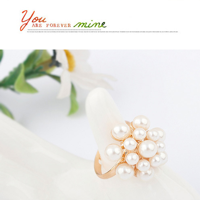 New Style Fashion Korean Golden Elegant Women Ladies Lovely Girls Simulated Pearl Flower Ring Women's Jewelry aneis feminino 4