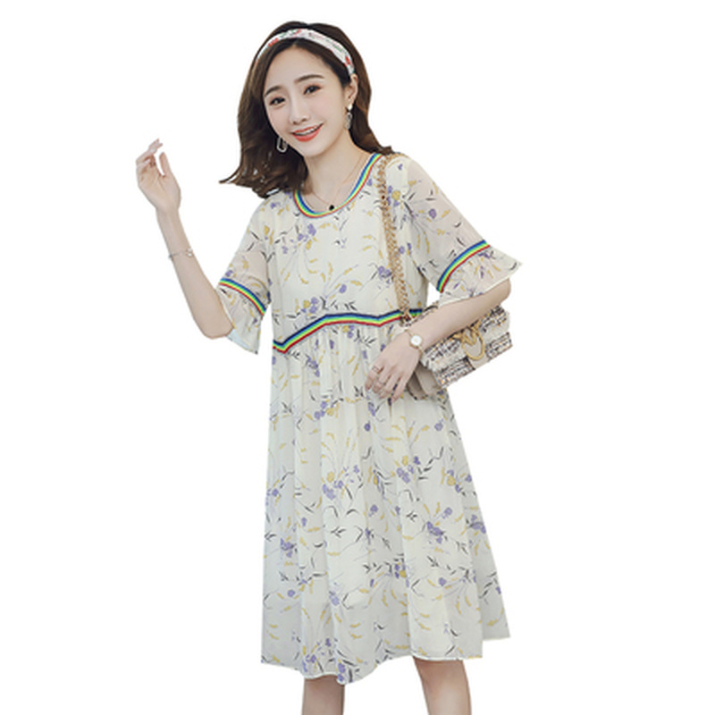 Summer Chiffon Printed Floral Pregnancy Dresses 2019 Women Clothing Korean Casual Maternity Dress Clothes for Pregnant WomenSummer Chiffon Printed Floral Pregnancy Dresses 2019 Women Clothing Korean Casual Maternity Dress Clothes for Pregnant Women