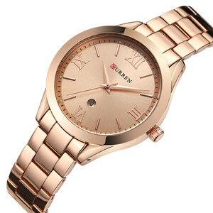 Image 3 - CURREN Frauen Uhren Top Marke Luxus Gold Damen Uhr Edelstahl Band Klassische Armband Weiblichen Uhr Relogio Feminino 9007