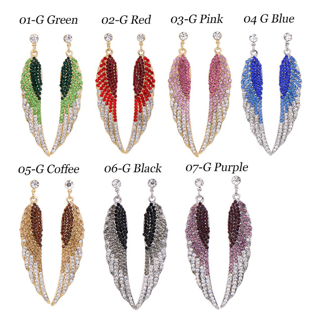 Long Crystal Angel Wing Earrings