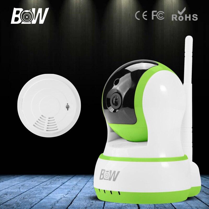 ФОТО New HD 720P Wireless IP Camera HD Network 1.0MP WIFI Camera Night Vision Mini Surveillance CCTV Automatic Alarm + Smoke Detector