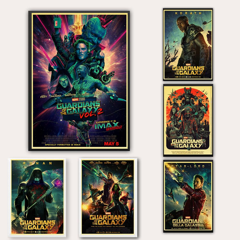 Vintage Movie Marvel Guardians Of The Galaxy Poster Wall Stickers Poster Prints High Quality For Bar And Home Decor