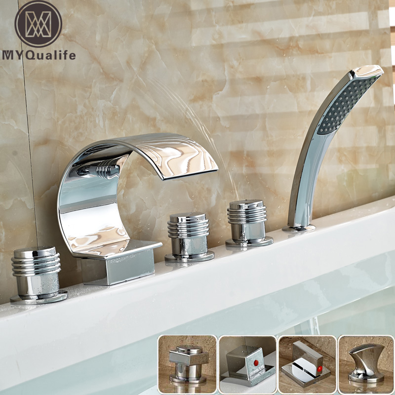 Bright Chrome Bathroom Waterfall Tub Mixer Faucet Set Deck Mounted with Handshower 3 Handles Widespread Bathtub Taps