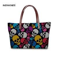 INSTANTARTS Punk Skulls Women Tote Shoulder Bag Luxury Designer Large Handbags For Ladies Casual Woman Top