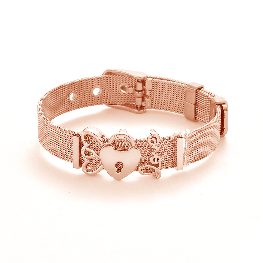 Bangle Bracelet With Charm: Fashion Rose Gold Color Stainless Steel Mesh Bracelet Set
