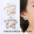 White Gold Plated Rhinestones Setting Star Design Party Queen Favourite Lady Stud Earrings Wholesale