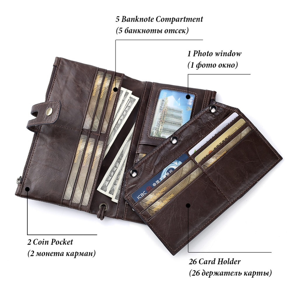 GZCZ Free Engrave Genuine Leather Men Wallet Vintage Male Clutch Purse Long Wallet Cell Phone Pocket Card Holder Clamp For Money