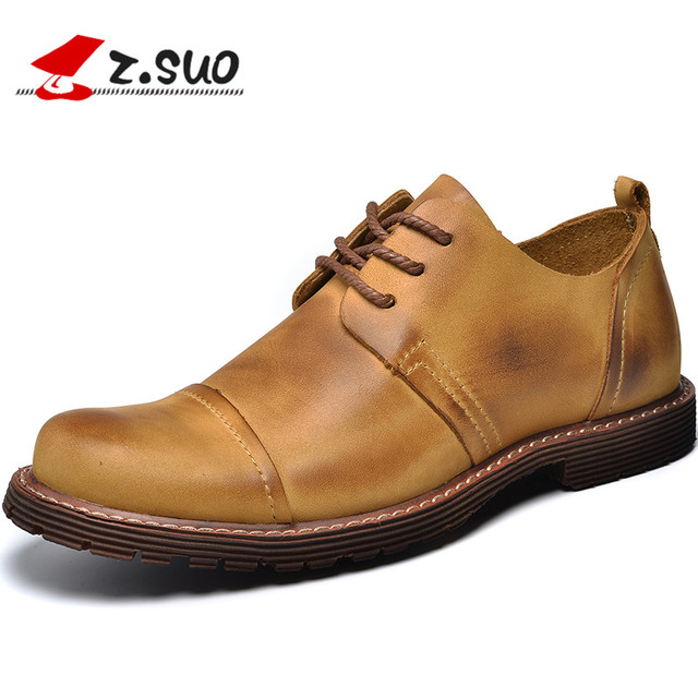 Z. Suo men's boots, genuine leather boots lace business, casual fashion first layer of leather shoes. Zapatos de cuero zs2310