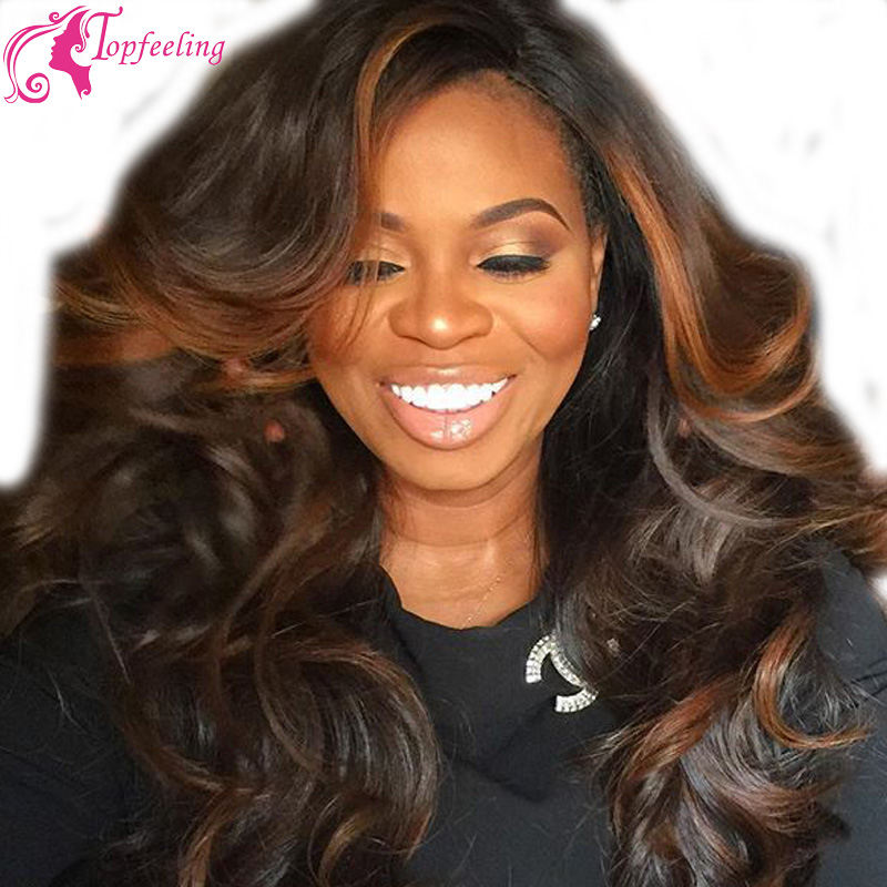 Beautiful Hair Loose Wave Ombre Full Lace Wig Highlight Color Virgin